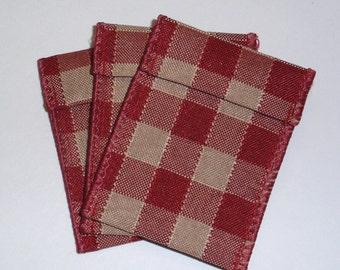 Jewelry Bead Pouches - 10 Red Tan Check Ribbon