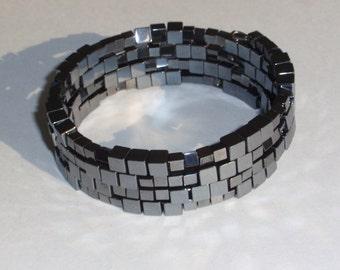Hematite cube bead memory wire bracelet