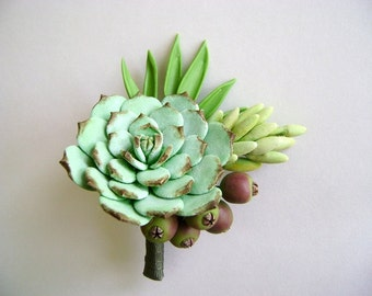 Wedding Succulent Boutonniere Clay Succulent Groom Flower Bestman Boutonniere Made to Order
