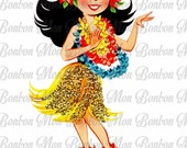 Kitschy Retro Hula Girl - You Print - Image Transfer - T shirts and More - INSTANT DOWNLOAD