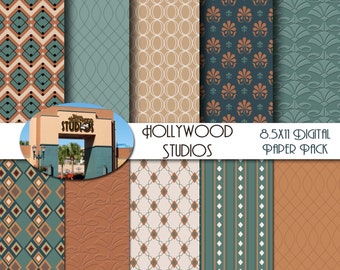 Disney Hollywood Studios- Carthay Circle - Vintage Hollywood - Art Deco Inspired 8.5x11 Digital Paper Pack  - INSTANT DOWNLOAD