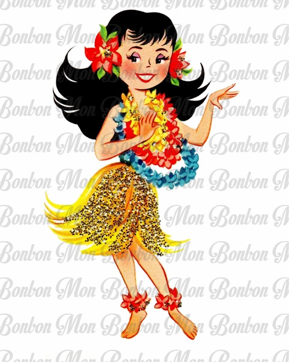 Retro hula girl