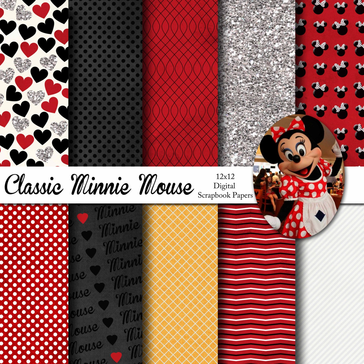 Scrapbook paper disney - Disney Classic Minnie Mouse Inspired 12x12 Digital Paper Pack For Digital Scrapbooking Party Supplies Etc Instant Download