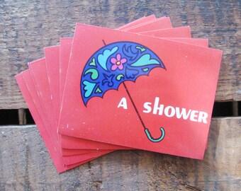 Vintage Retro Umbrella Shower Invitations - Set of 10 - Baby Shower, Bridal Shower