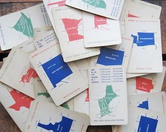 Vintage U.S. Rummy Geography Fact Cards - Random Set of 7 States - Vintage Cards, Vintage Geography Cards, Vintage States, Paper Ephemera