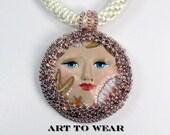 Bronze Goddess Pendant Necklace Kumihimo Jewelry Statement Necklace Sun & Sea Goddess Pendant Handmade Jewelry Beaded Art Pendant Necklace