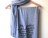 Jane Austen Quote Book Scarf in Grey. Mr. Darcy's Proposal. Pride and Prejudice MADE TO ORDER