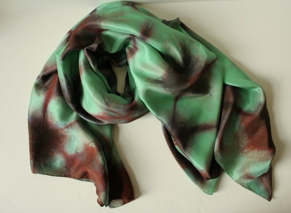 SEA GREEN SNOWFLAKE - silk scarf with pattern