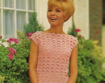 Vintage Ladies Top, Crochet Pattern, 1960 (PDF) Pattern, Sirdar 5065