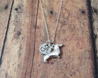 Dachshund initial necklace - dachshund jewelry, doxie jewelry, weenie dog jewelry, doxie necklace, silver dachshund necklace