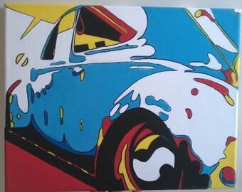 Blue VW Bug Abstract Pop Art