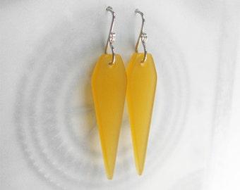 Dagger Earrings, Modern Plexi Jewelry, Amber Yellow, Geometric Dangle Earrings, Sterling Ear Wires