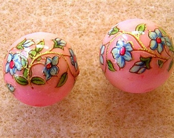 Last Pair VINTAGE Japanese TENSHA GLASS Beads Bouquets on Pink 12mm