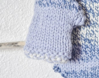 Excellent Mitts in Soft Blues -- Hand Knit in Handspun Merino Wool - Soft Luxury Slow Fashion - Women's Fashion, Mori Girl, Patchwork, Sale