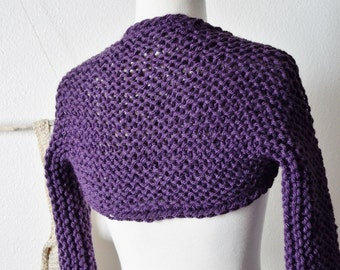 Plum Shrug - Sloe Purple Hand Knit Shrug