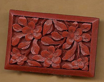 """vintage faux cinnabar panels, TWO flat back rectangles to glue, or use for projects, 1-1/8"""" x 7/8"""""""