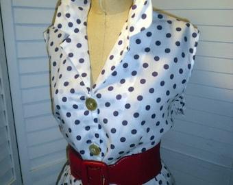 1960s Vintage Dress Purple & White Polka Dot Sleeveless Daytime Dress XXL 46 B 38 W  Rockabilly