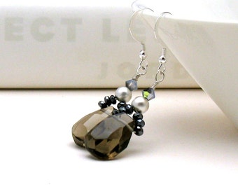 Smoky Quartz Boho Luxe Dangle Earrings, Elegant Brown Gemstone Drop Earrings