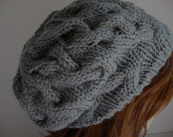 Knit Slouchy Hat, Slouchy Hat, Knit Hat, Hand Knit Hat, Grey Slouchy Hat - READY TO SHIP
