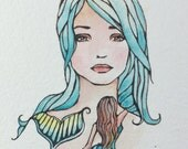 Tattoo girl with mermaid original small watercolor painting