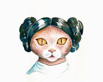 Star Wars Princess Leia Cat watercolor painting PRINT