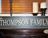 Personalized Family Name & Established Date hand painted wood sign with vinyl lettering - Style FA6
