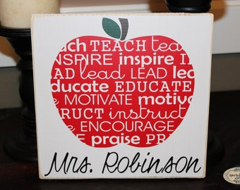 Teacher Apple Word Art | personalized| teacher gift | classroom decor | Teacher Appreciation | Style TA6