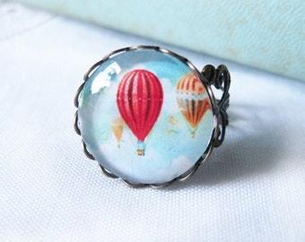 Hot Air Balloon Antique Brass Adjustable Ring
