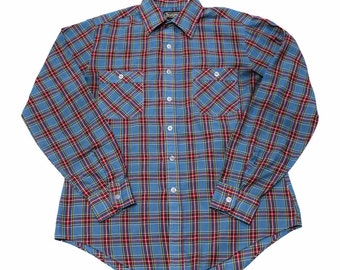 Vintage 80s Sears Plaid Button Up Shirt Mens Size Small