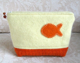Goldfish Zip Pouch, Eco Friendly, Upcycled Felted Wool Clutch