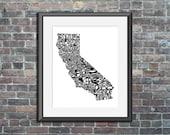 California typography map...