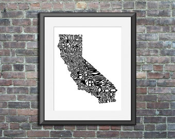 California typography map art print 11x14 customizable state poster personalized wedding engagement graduation gift anniversary wall decor