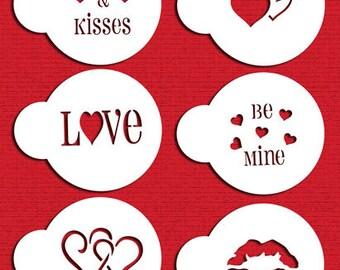 Valentine Cupcake Cookie Tops Stencil Set for Cookies, Cakes & Cupcakes - Designer Stencils (C096) face painting