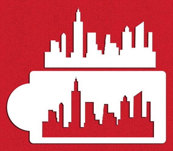 skyline di new york lo stampino set per biscotti torta lati. Black Bedroom Furniture Sets. Home Design Ideas