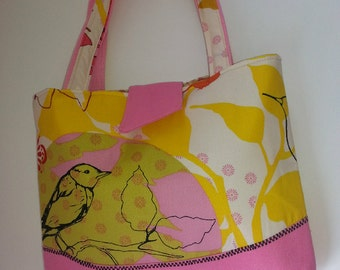 ON SALE Floral Bird Tote- Handbag  Pink Yellow Red Drawing Room Fabric-Duck Cotton-Medium-Gift for Her-Wedding Gift-Bridal Party Gift