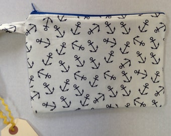 SALE Wristlet Zipper Pouch/Cell Phone Case/Coin Purse - New Larger Size -  Blue White Nautical Anchors