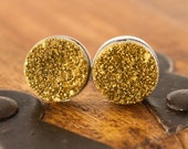 Glittering Gold Druzy and Sterling Silver Stud Earrings