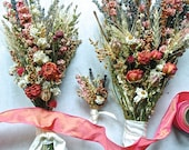 Custom Brides and Bridesmaid Bouquets and Groom's Boutonniere of Dried Lavender, Coral Larkspur and Roses and Dried Flowers