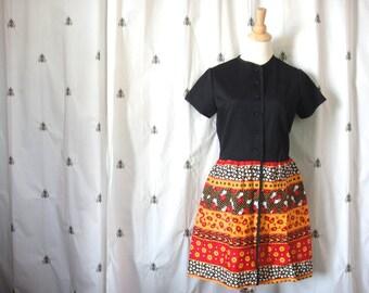 Vintage Mod 1960s Patchwork Skirt Mini Dress, Jr Bazaar, Sears, Black, Red, Orange, Medium, Large