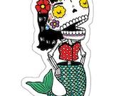La Dama Sirena Calavera Die Cut Clear Vinyl Sticker Day of the Dead