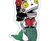 La Dama Sirena Calavera Die Cut Vinyl Sticker Day of the Dead