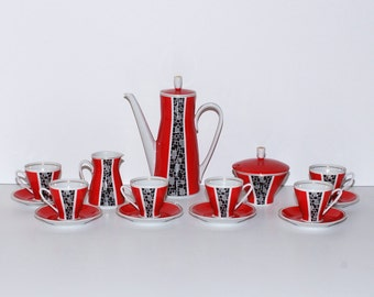 Mid Century Modern Freiberg Porcelain Coffee Set for 6