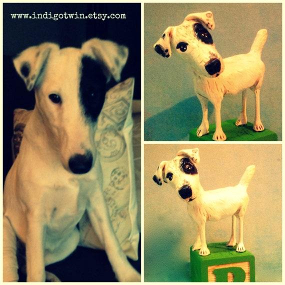 Custom Dog  Sculpture art  Memorial clay folk art pet portrait