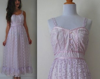 Vintage 60s 70s Lavender Lace Prairie Dress (size extra small, small)
