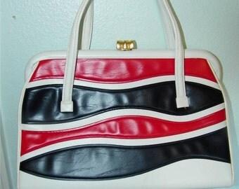 Vintage Red White Blue Faux Leather Handbag Purse Patriotic 10403