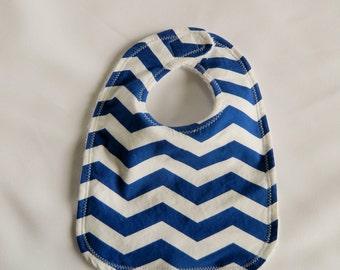Blue Chevron Baby Bib