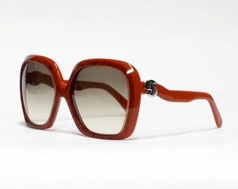 Red oversized SILHOUETTE vintage sunglasses - model 587, 70s sunglasses, vintage eyewear in unused deadstock condition.