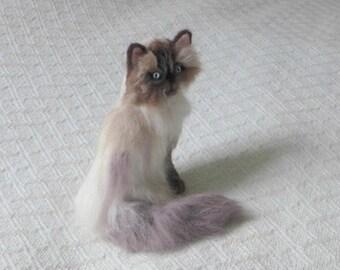 Custom Cat Art / Gift for Cat Lover / Needle Felted Cat / Personalized Custom Pet Portrait / Cat Memorial / example Himalayan Cat
