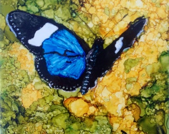 Blue and Black Butterfly on Yellow Flowers Art Tile
