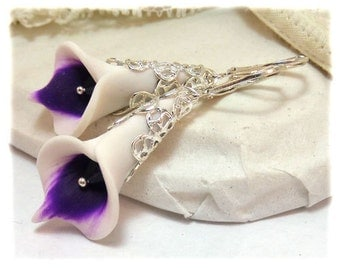Purple Picasso Calla Lily Earrings - Picasso Calla Lily Jewelry Collection